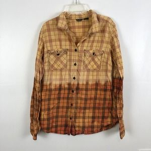 Reverse bleach dyed Eddie Bauer flannel large